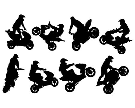 Athlete performs a stunt on a sports motorcycle. Isolated silhouettes on a white background