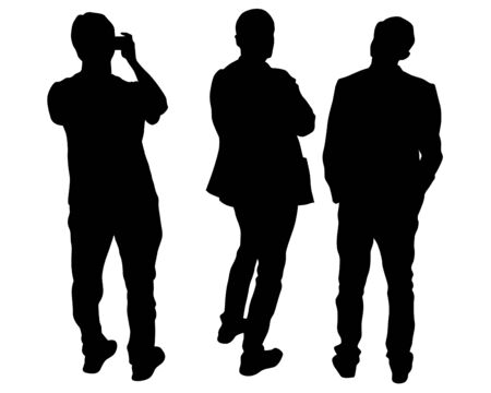 Group of tourists with smartphone. Isolated silhouettes of people on a white background Ilustracja