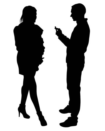Man with camera and woman on white background. Isolated silhouettes of people on white background