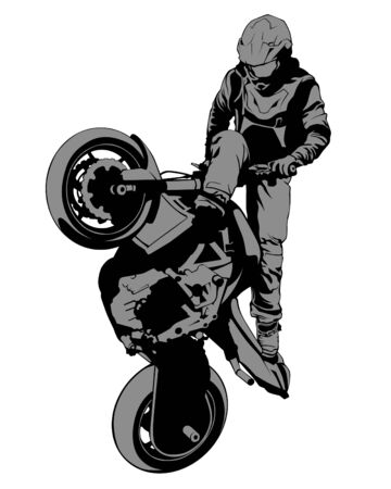 Young man on sports bike performs tricks. Isolated silhouette on a white background