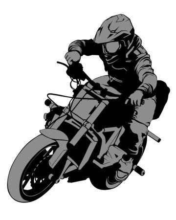 Joven en bicicleta deportiva realiza trucos. Silueta aislada sobre un fondo blanco
