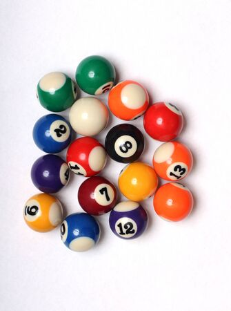 Multi-colored balls for billiard on white background 免版税图像