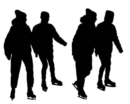 Couples and ice skate. Isolated silhouettes of people on a white background