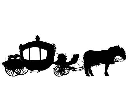 Caballos enjaezados a un hermoso carruaje antiguo. Silueta aislada sobre un fondo blanco Ilustración de vector
