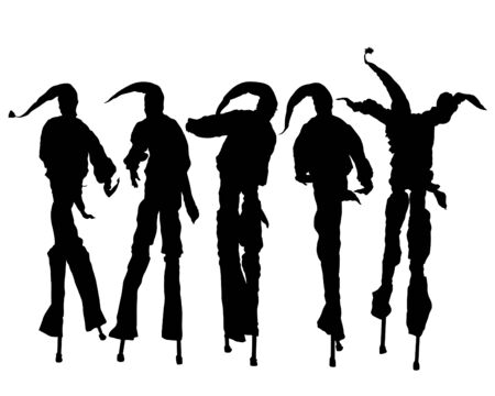 Artist in a clown costume on high stilts. Isolated silhouette on a white background
