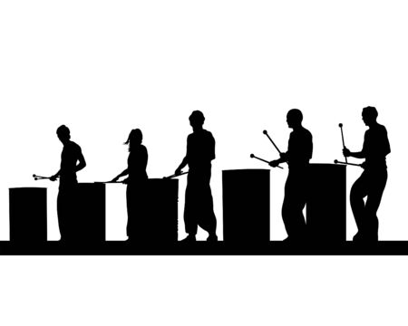 Drummers play on large iron barrels. Isolated silhouettes on white background