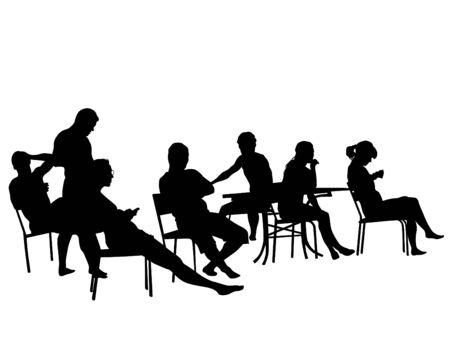 People in urban cafe. Isolated silhouettes of people on a white background