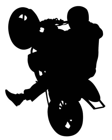 Man in protective clothing rides a sports bike. Isolated silhouette on a white background