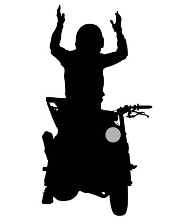 Silhouettes athletes quadbike during races on white background  イラスト・ベクター素材