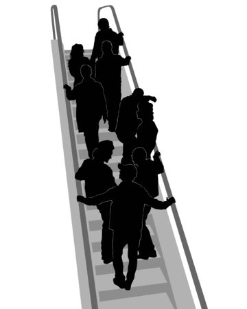 Big crowds people on escalator. Isolated silhouette on a white background