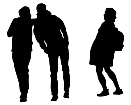Young man and woman walking down the street. Isolated silhouette on a white background 版權商用圖片 - 142134334
