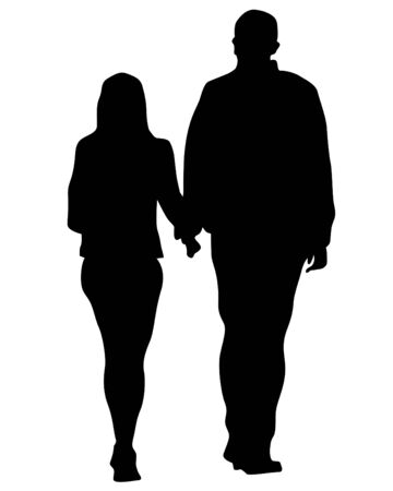 Young man and woman walking down the street. Isolated silhouette on a white background