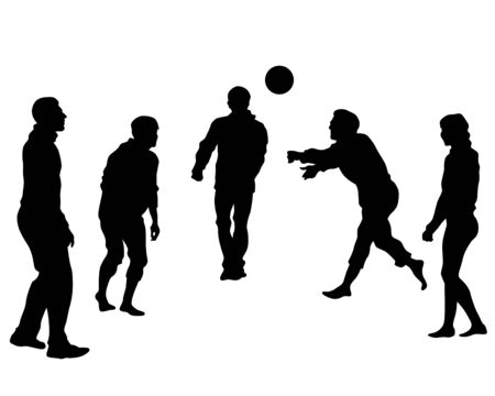 Men and women play volleyball on the street. Isolated silhouettes of people on a white background Ilustração