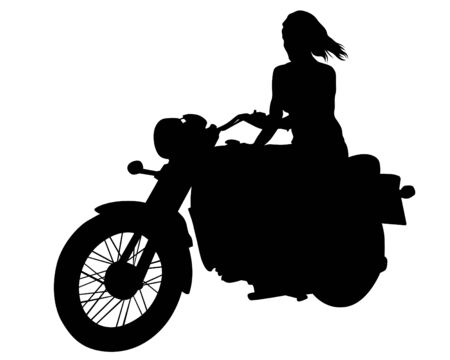 Beauty women on sports motorcycle. Isolated silhouette on a white background