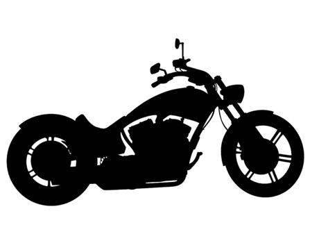 Man in protective clothing rides a retro bike. Isolated silhouette on a white background Ilustración de vector