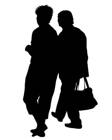Une femme âgée et un homme avec un bâton marchent dans la rue. Silhouette isolée sur fond blanc Vecteurs