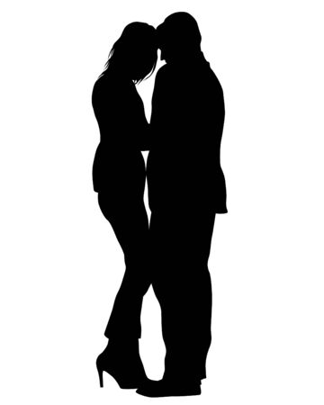 Young man and woman are standing next to each other. Isolated silhouette on a white background