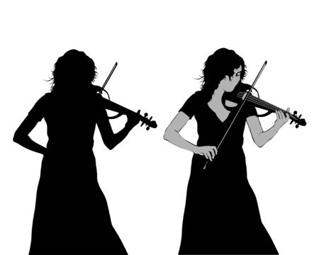 Young girl playing the violin at a concert. Isolated silhouette on a white background Ilustrace