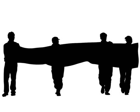 People of with banner and flags. Isolated silhouettes of people on a white background