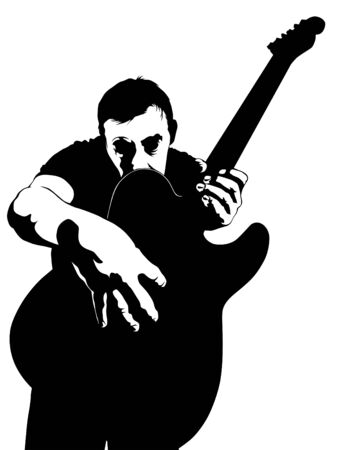 Man whit guitar perform on stage. Isolated silhouettes of people on a white background