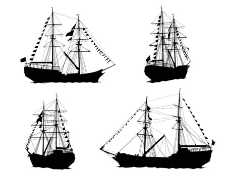 Old sailing ship at sea. Isolated silhouettes on a white background Illustration