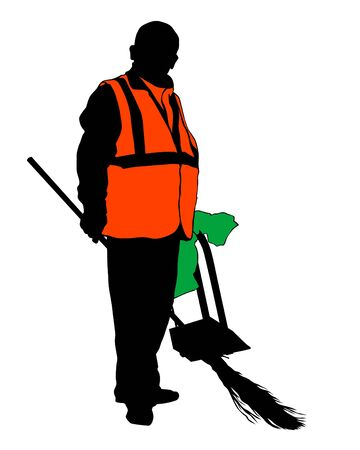 Janitor in signal vest whit broom. Isolated silhouette on a white background Ilustracja