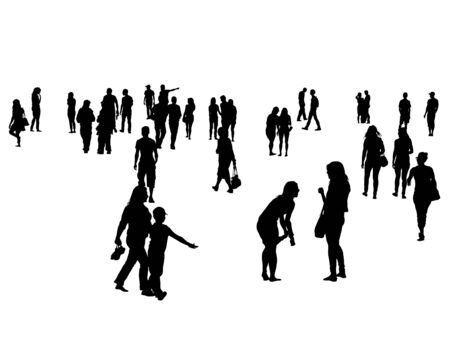 Young men and women on vacation. Isolated silhouettes on a white background Ilustracja