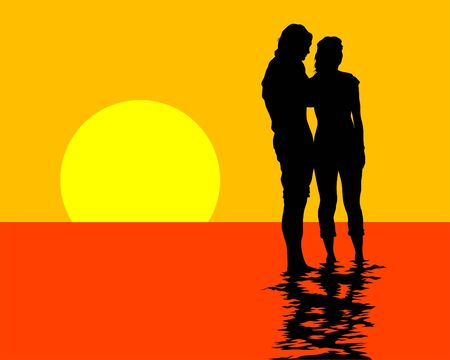 Young men and women on vacation. Isolated silhouettes on sea background Illustration