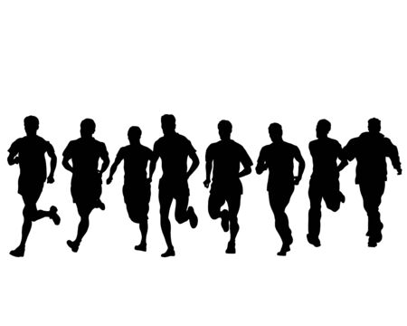 Young athletes run a marathon. Isolated silhouettes on white background Иллюстрация