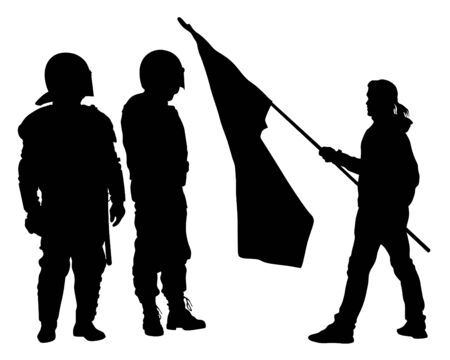 Special police forces and demonstrators with flags on white background