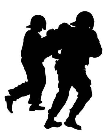 Police officers in protective uniforms arrest protesters. Isolated silhouettes on a white background Ilustrace
