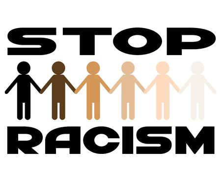 Multi-colored figures of people on a white background. Poster on topic of stop racism Illustration