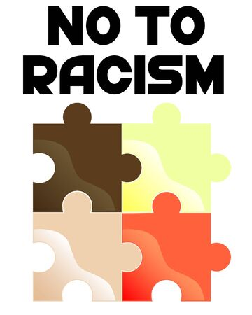Multi-colored puzzles held together. Poster on the topic of stop racism Illustration