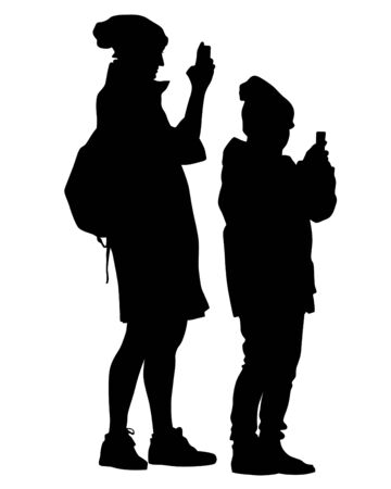 Woman and man holds a camera in her hand. Isolated silhouettes of people on a white background Imagens - 150348107