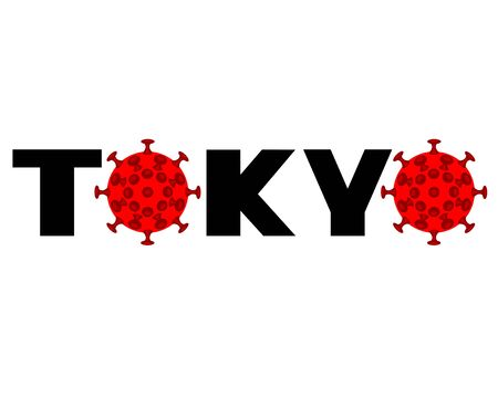 Schematic image of virus and the inscription Tokyo. The danger of coronavirus for Games Illustration