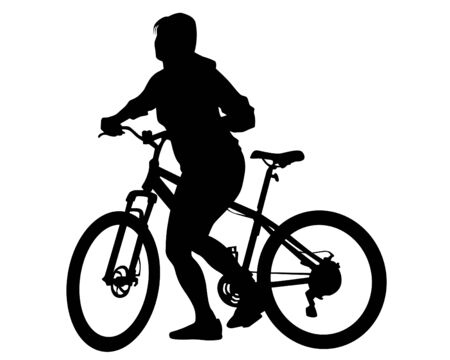 Young athlete on a bike for extreme stunts. Isolated silhouette on a white background