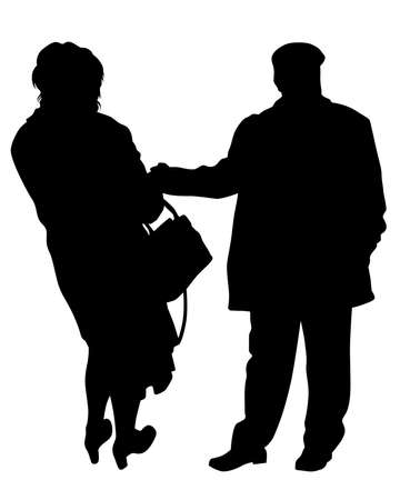 Two elderly people are walking along street. Isolated silhouettes on white background