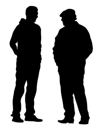 Two men are standing and talking. Isolated silhouettes on a white background