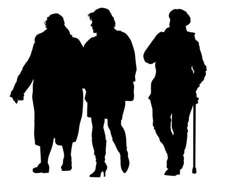 Elderly woman with a stick is walking down the street. Isolated silhouette on a white background
