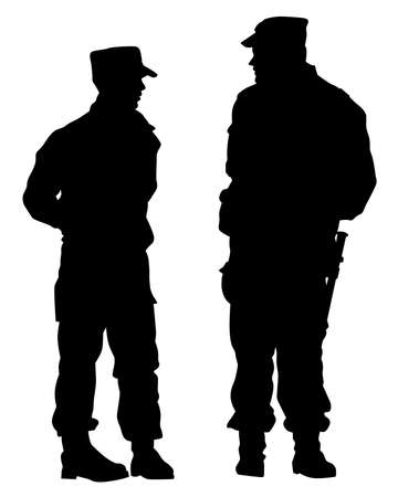 Special police forces on street. Isolated silhouette on white background Ilustrace