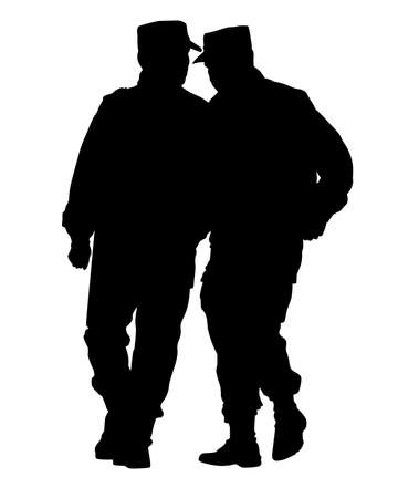 Special police forces on street on white background