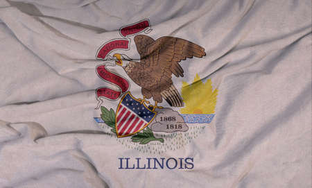 Flag of the American state flies in the wind. Colored background on fabric 写真素材 - 154854446