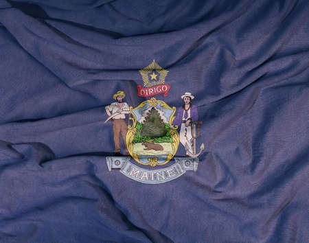 Flag of the American state flies in the wind. Colored background on fabric 写真素材 - 155052947
