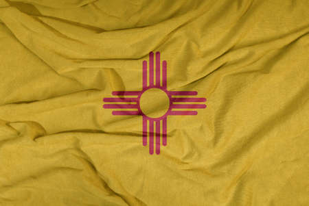 Flag of the American state flies in the wind. Colored background on fabric