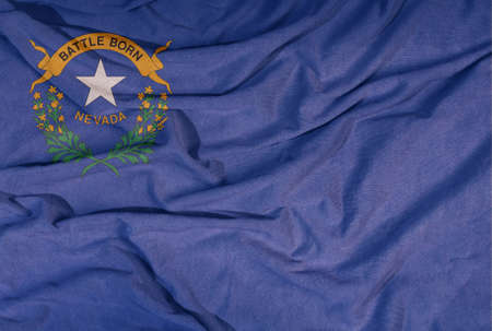 Flag of the American state flies in the wind. Colored background on fabric 写真素材 - 155052952