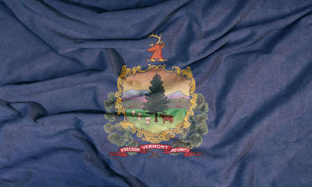 Flag of the American state flies in the wind. Colored background on fabric 写真素材 - 155927645