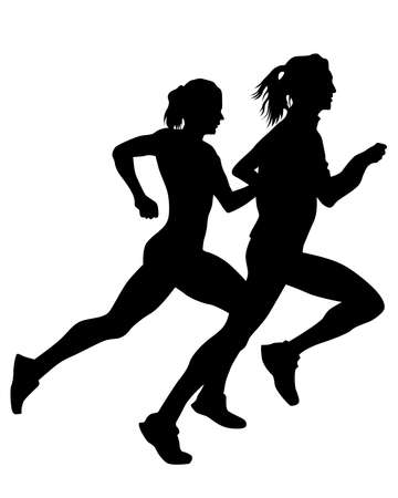 Young athletes run a marathon. Isolated silhouettes on white background 写真素材 - 156103248