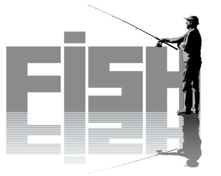 Fisherman with a fishing rod on shore. Isolated silhouette of a man on a white background 写真素材 - 155963953