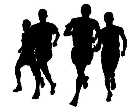 Young athletes run a marathon. Isolated silhouettes on white background 写真素材 - 156103250
