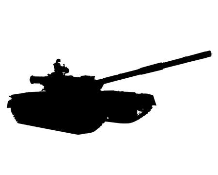 Large modern tank. Isolated silhouette on white background 写真素材 - 156236114